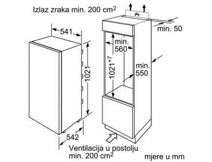 Ugradbeni hladnjak A+ BOSCH KIR20V21FF