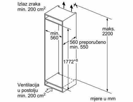 Ugradbeni hladnjak A++ BOSCH KIR81AF30