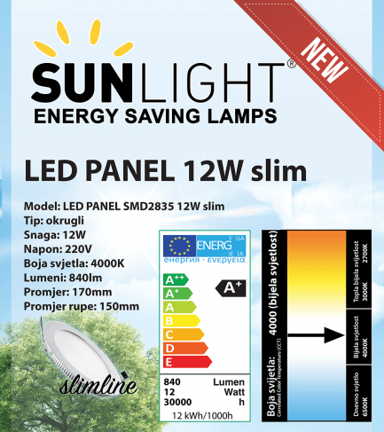 LED panel Sunlight 12W okrugli 4000K