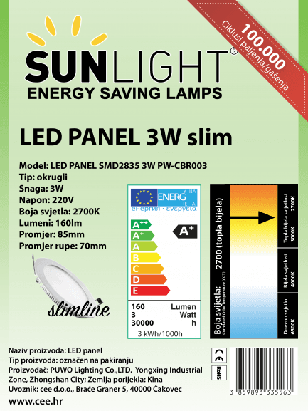 LED panel Sunlight 3W okrugli 2700K