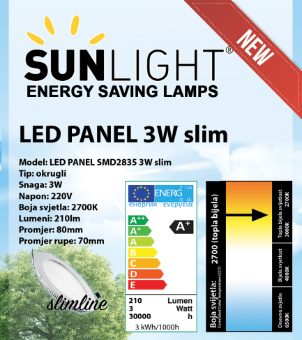 LED panel Sunlight 3W okrugli 2700K