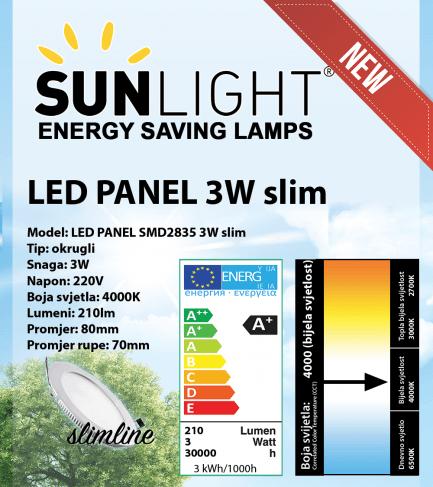 LED panel Sunlight 3W okrugli 4000K
