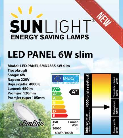 LED panel Sunlight 6W okrugli 4000K