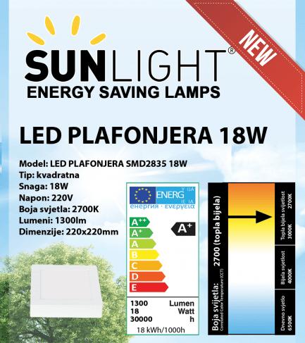 LED plafonjera kvadratna Sunlight 18W, 2700K