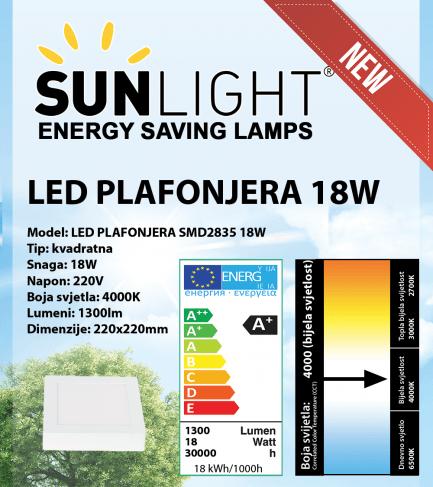 LED plafonjera kvadratna Sunlight 18W, 4000K