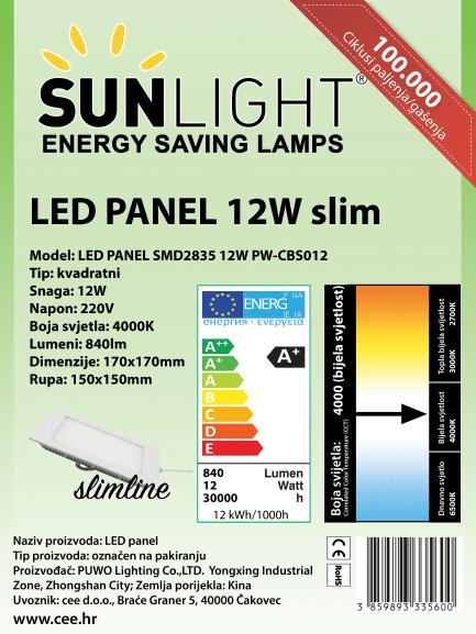 LED panel Sunlight 12W kvadratni 4000K
