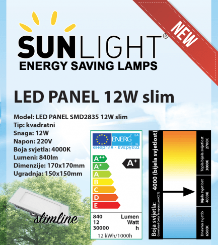 LED panel Sunlight 12W kvadratni 4000K