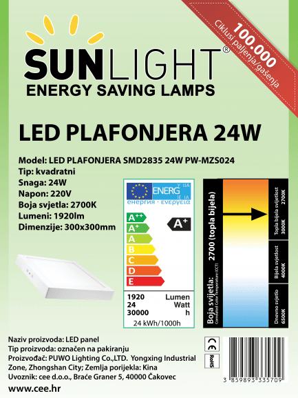 LED plafonjera kvadratna Sunlight 24W 2700K