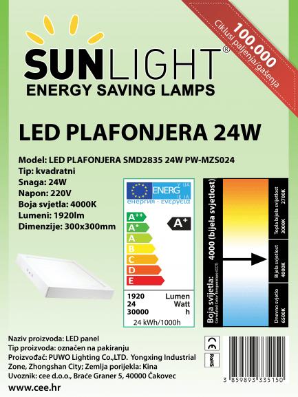 LED plafonjera kvadratna Sunlight 24W 4000K