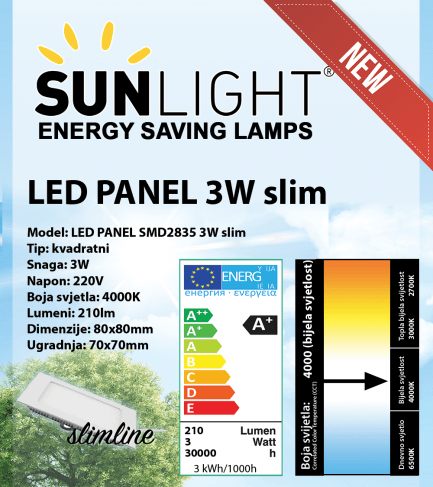 LED panel Sunlight 3W kvadratni 4000K