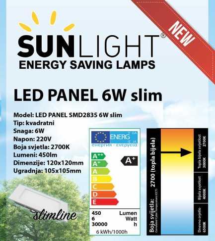 LED panel Sunlight 6W kvadratni 2700K