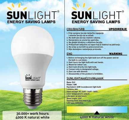 LED žarulja Sunlight E27 10W 900lm 4000K
