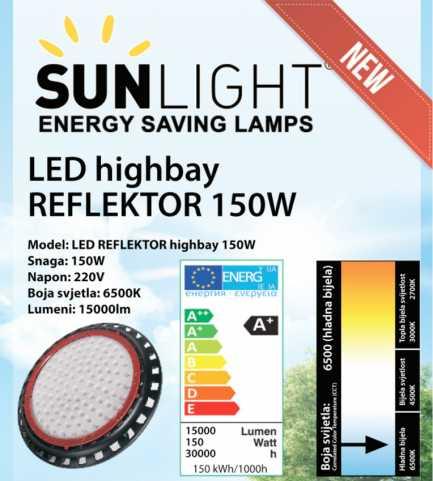 LED High Bay reflektor 150 W Sunlight 6500K 15000lm