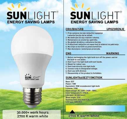 LED žarulja Sunlight A60 E27 15W 1350lm 2700K 3/1