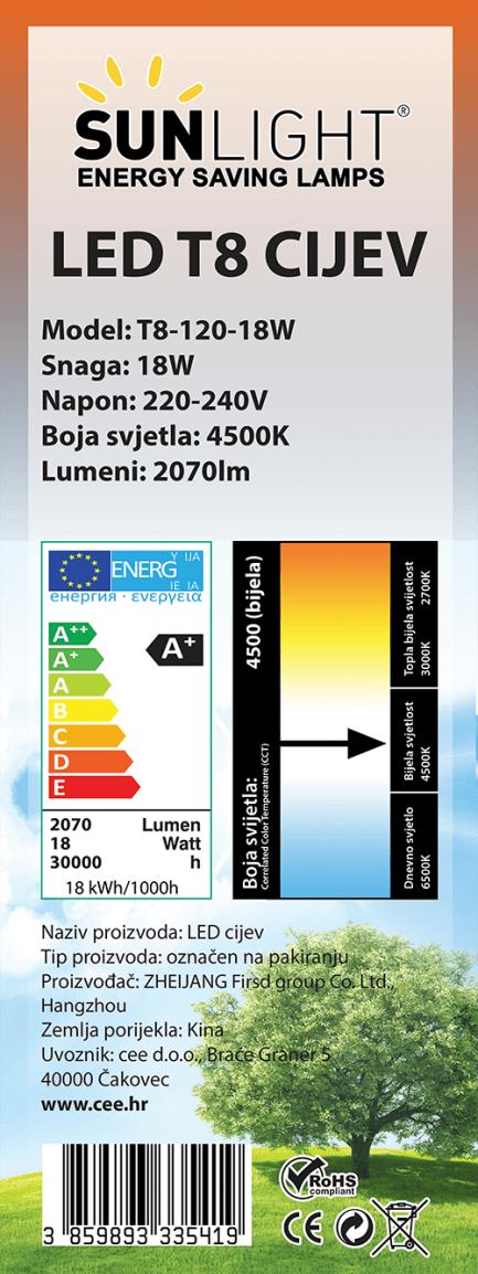 LED cijev T8 120mm 18W 4500K 115lm/W Sunlight