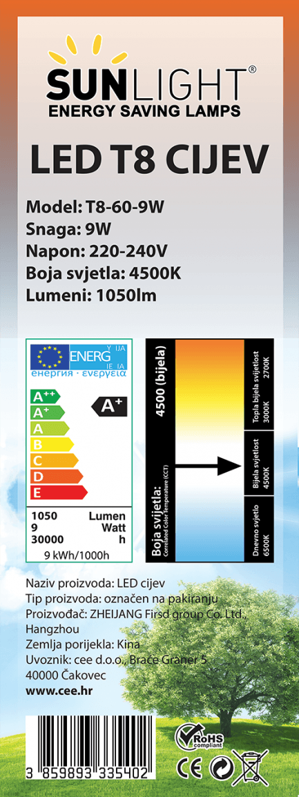 LED cijev T8 60mm 9W 4500K 117lm/W Sunlight