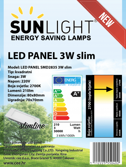 LED panel Sunlight 3W kvadratni 2700K