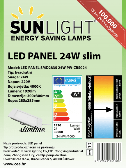 LED panel Sunlight 24W kvadratni 4000K