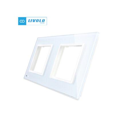 Livolo dvostruki stakleni panel/okvir za utičnicu/modul bijeli