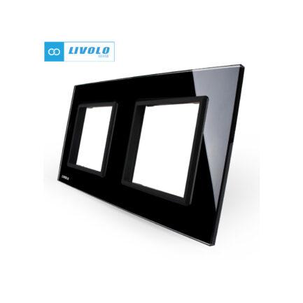 Livolo dvostruki stakleni panel/okvir za utičnicu/modul crni
