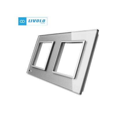 Livolo dvostruki stakleni panel/okvir za utičnicu/modul sivi