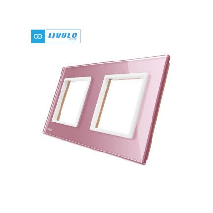 Livolo dvostruki stakleni panel/okvir za utičnicu/modul ružičasti