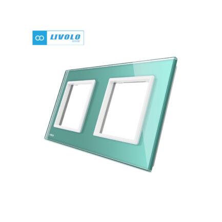 Livolo dvostruki stakleni panel/okvir za utičnicu/modul tirkizni