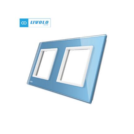 Livolo dvostruki stakleni panel/okvir za utičnicu/modul plavi