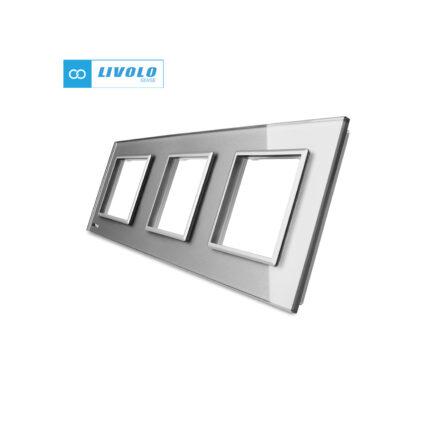 Livolo trostruki stakleni panel/okvir za utičnicu/modul sivi