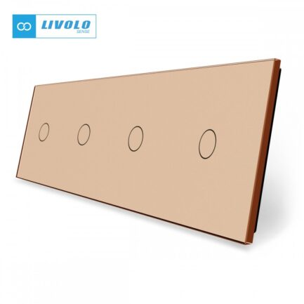 Livolo stakleni panel 1 tipka + 1 tipka + 1 tipka + 1 tipka zlatni
