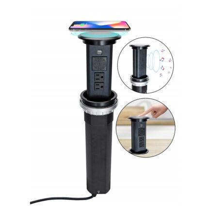 Livolo automatska izvlačna utičnica s Bluetooth zvučnikom i wireless punjačem crna/crna IU-2WBT-12/12