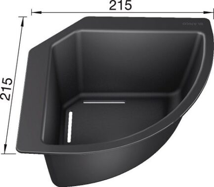 Kadica kutna Blanco (215x215mm) PVC CRNA