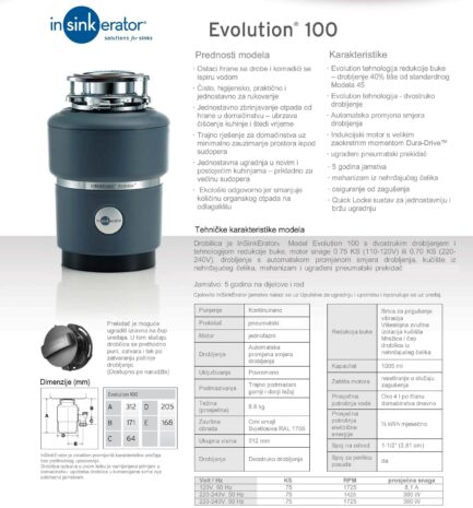 Drobilica IN-SINK-ERATOR model EVOLUTION 100 ( uključen pneumatski prekidač )