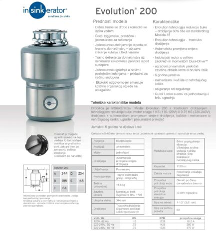 Drobilica IN-SINK-ERATOR model EVOLUTION 200 ( uključen pneumatski prekidač )