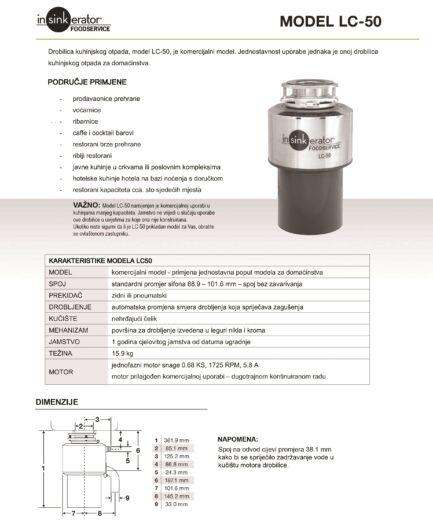 Drobilica IN-SINK-ERATOR model LC 50 – za ugostiteljstvo