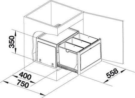 Sustav za odvajanje otpada Blanco SELECT BOTTON Pro 60/3 AUTOMATSKI